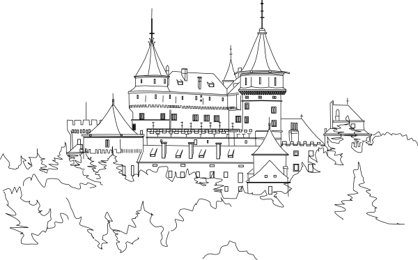 Disney castle outline png. Clip art at clker