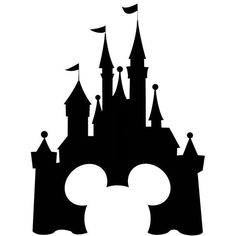 Castle silhouette panda free. Disneyland clipart picture black and white download