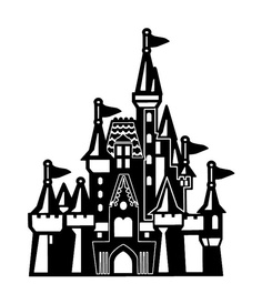 Disneyland clipart hill. Silhouette of castle at