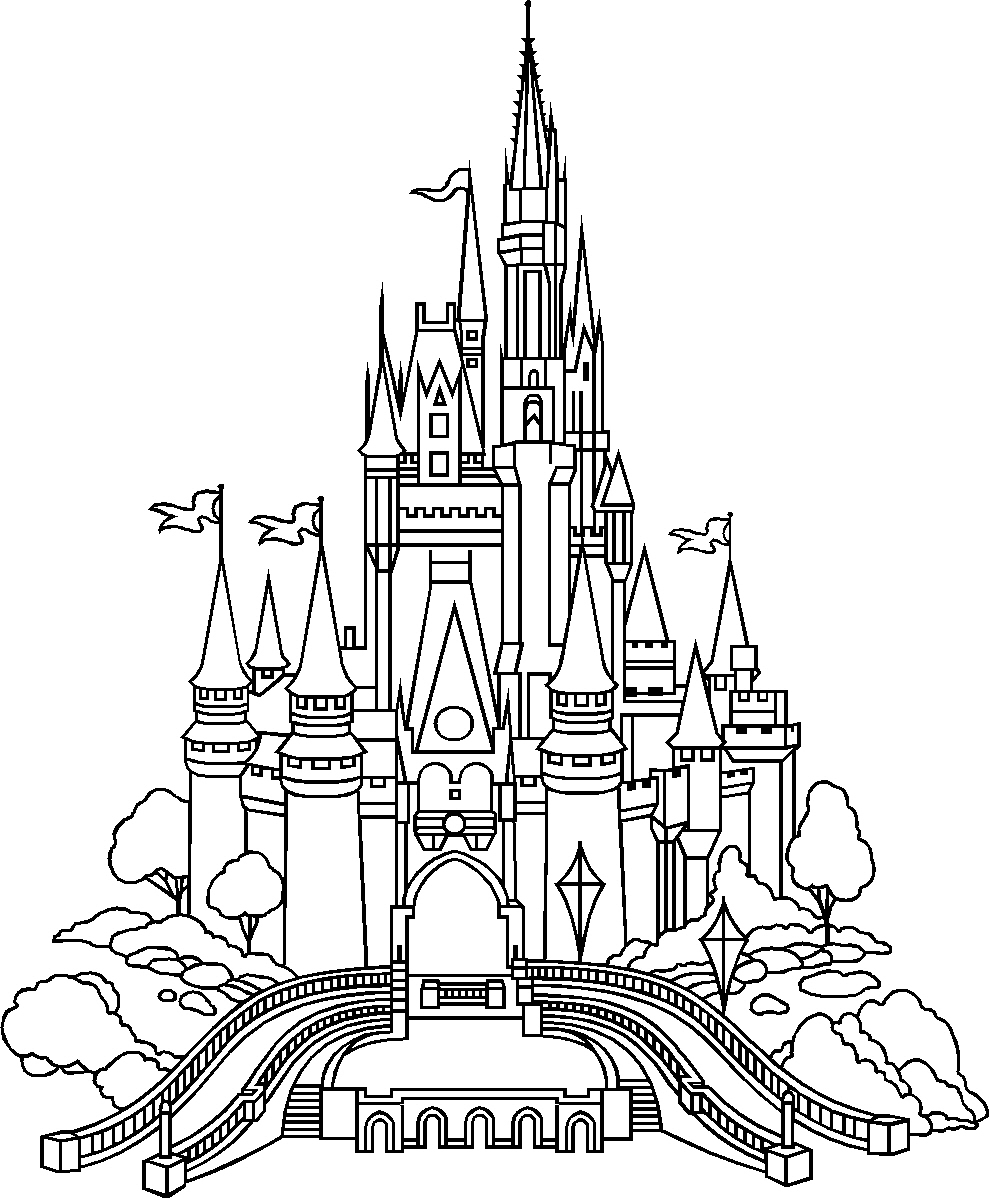 Drawing at getdrawings com. Disneyland clipart snow white castle graphic black and white stock