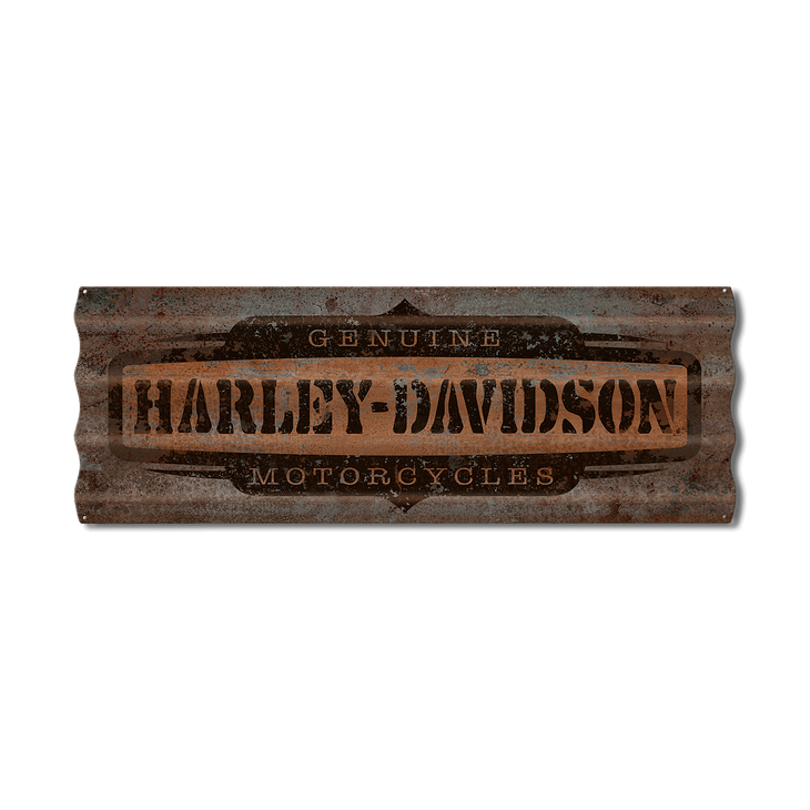 Distressed svg metal. Harley davidson corrugated sign