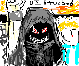 Disturbed drawing fist. Ten thousand fists in