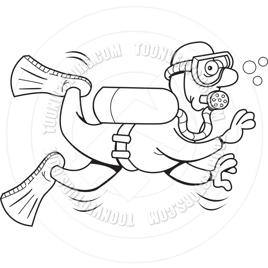 Diver clipart black and white. Diving drawing at getdrawings