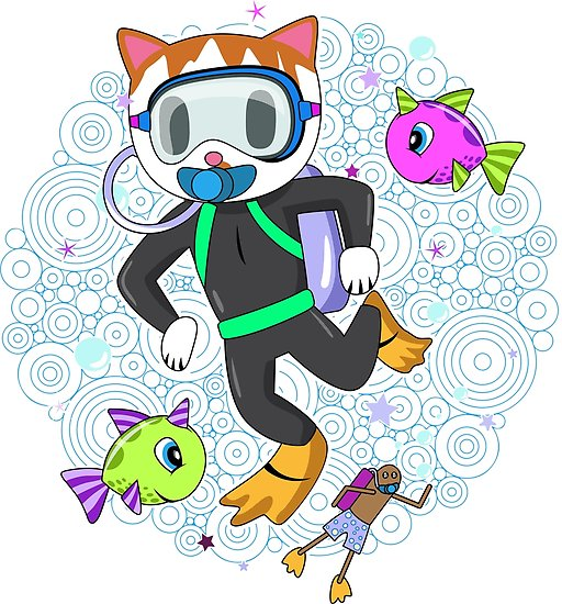Diver clipart snorkler. Scuba diving cat with