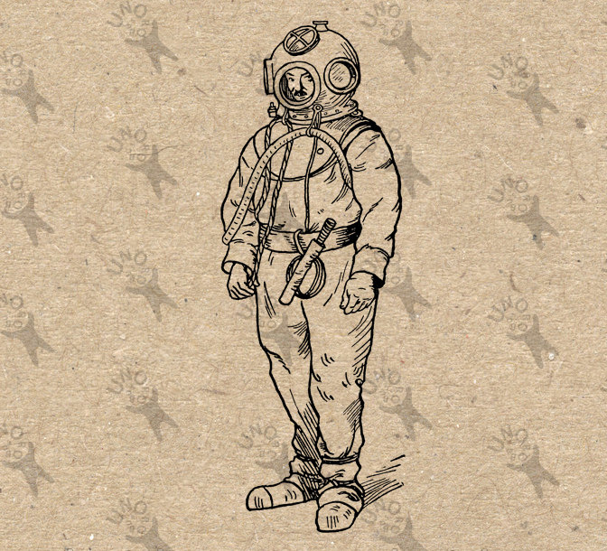 Diver clipart vintage. Image diving suit scuba
