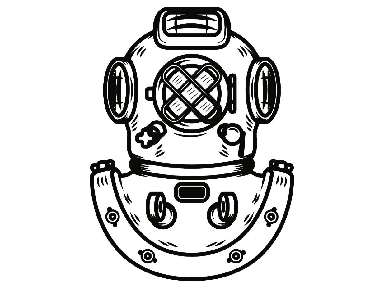 Diver clipart vintage. Divers helmet drawing at