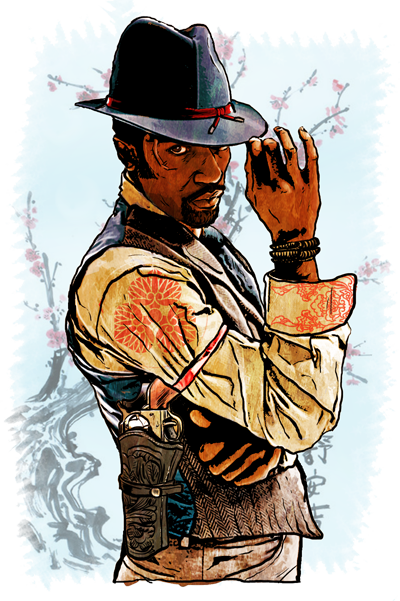 Western drawing steampunk. Another far west concept