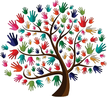 Diversity drawing tree logo. Upcoming events meet me