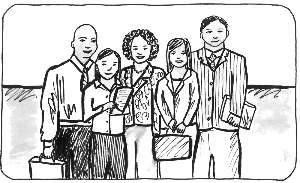 Diversity drawing person. Blue switch consulting blog