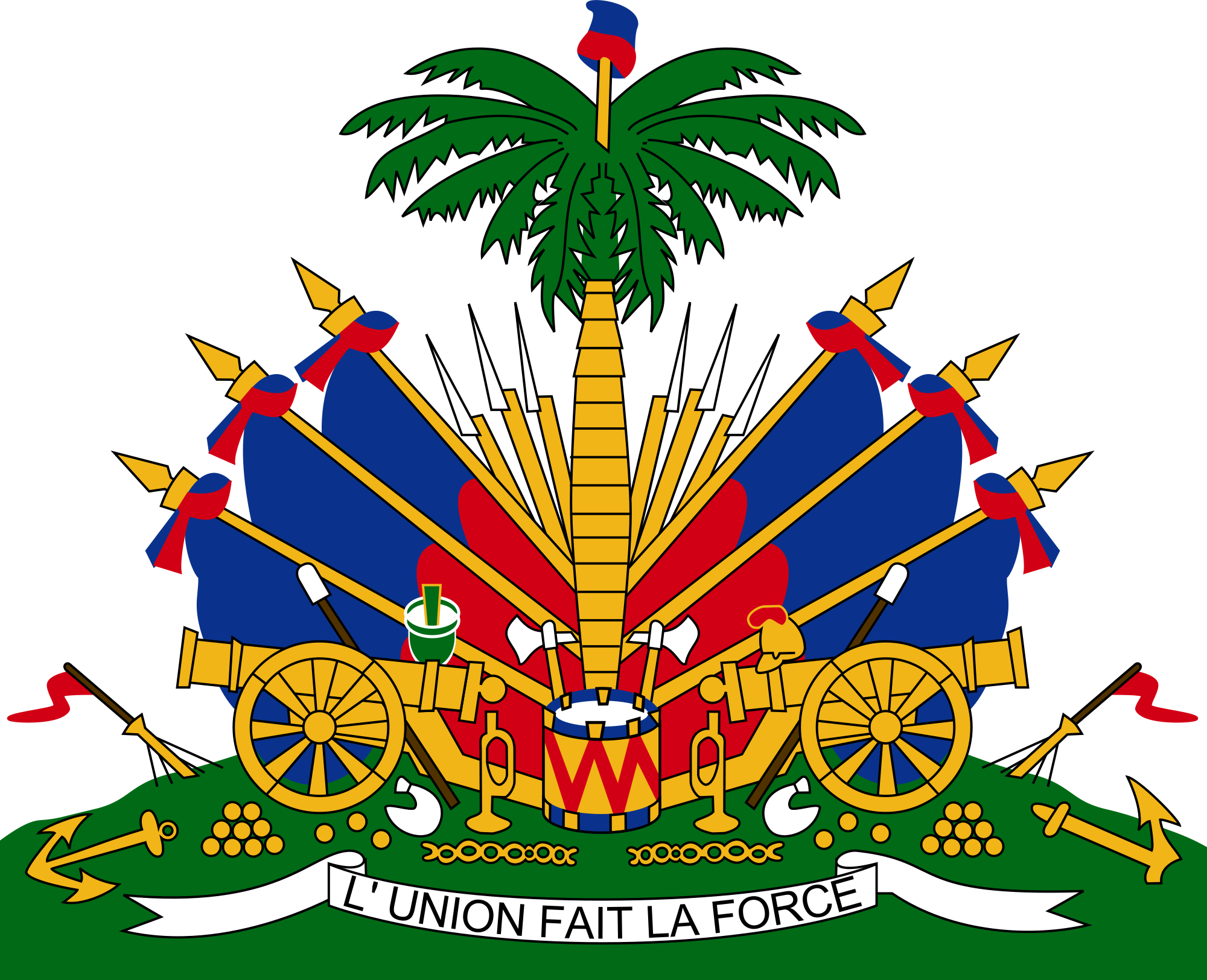 Diversity drawing unity is strength. Coat of arms haiti