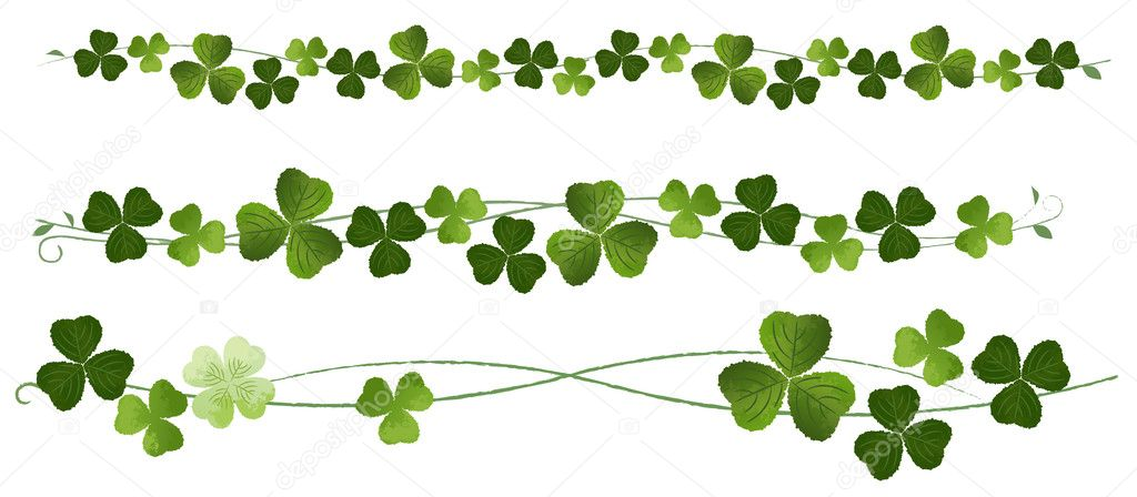 Divider clipart plant. Clovers dividers stock vector