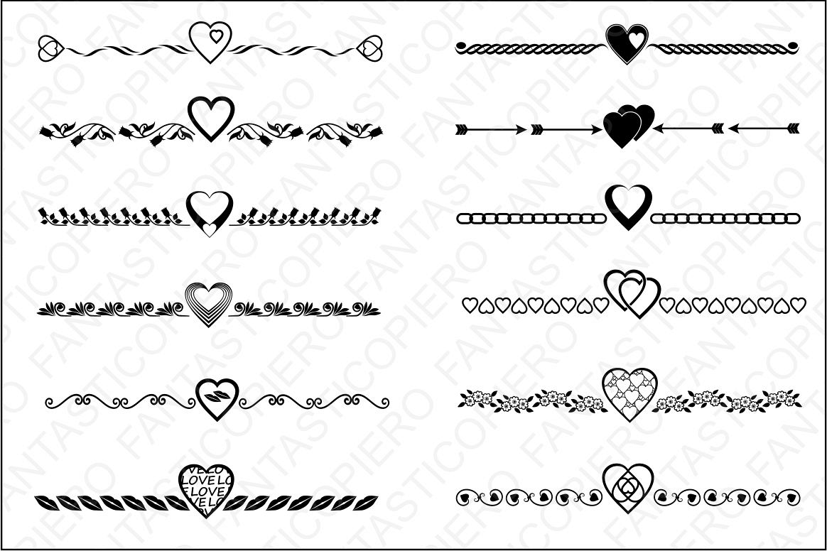 Divider clipart straight line. Text dividers valentine s