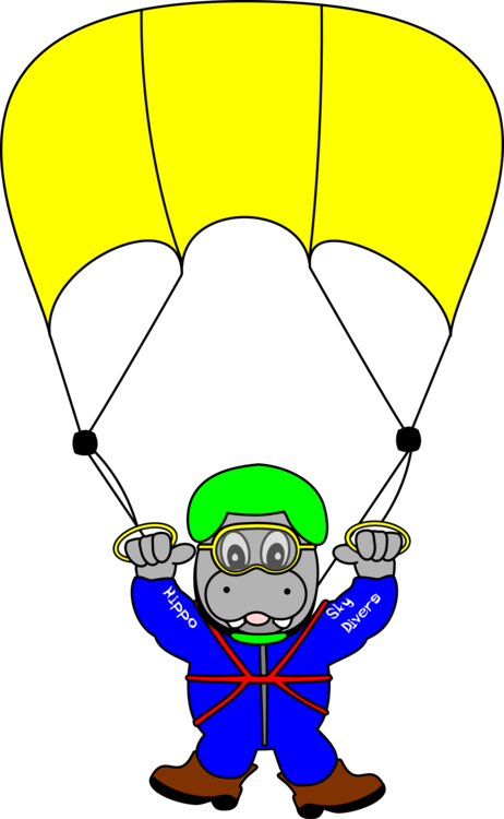 Skydive drawing parachute line. Parachuting computer icons underwater