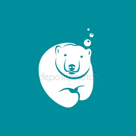 Diving clipart polar bear. Icon stock vector i