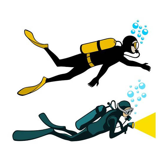 Scuba diver cuttable design. Diving clipart svg graphic freeuse stock