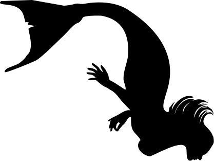 Mermaid silhouette panda free. Diving clipart svg svg black and white stock