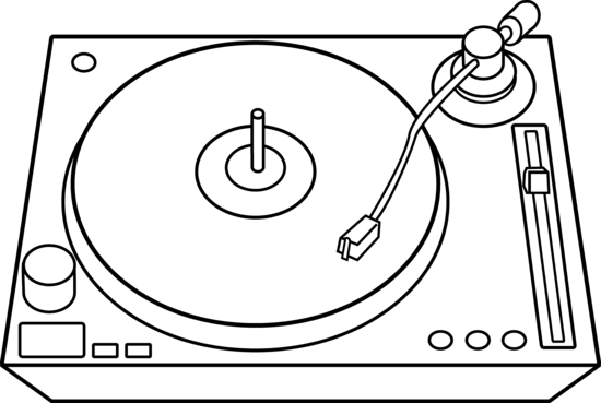 Turntables drawing flower. Dj clip art free