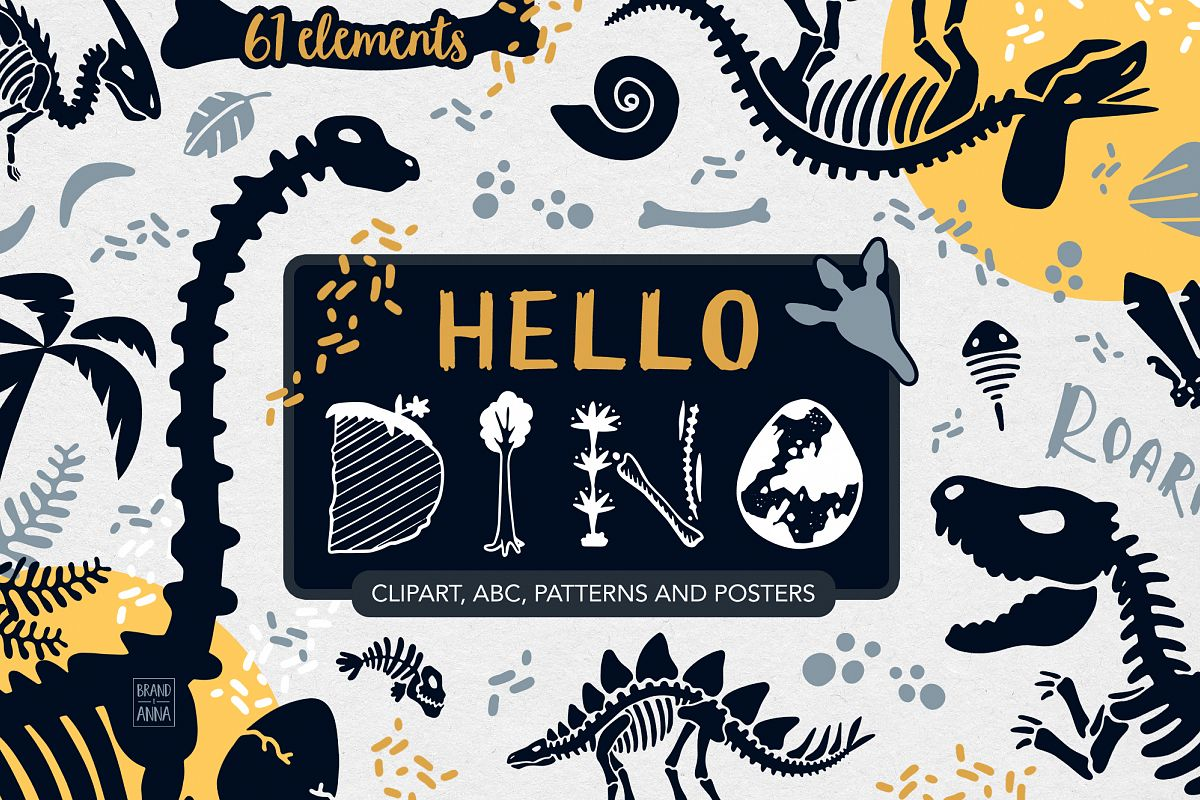 DOAR. Dinosaur skeletons vector clipart