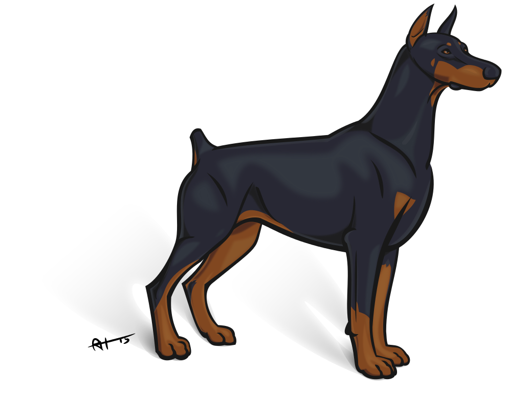 Doberman vector logo. European boy by horsey