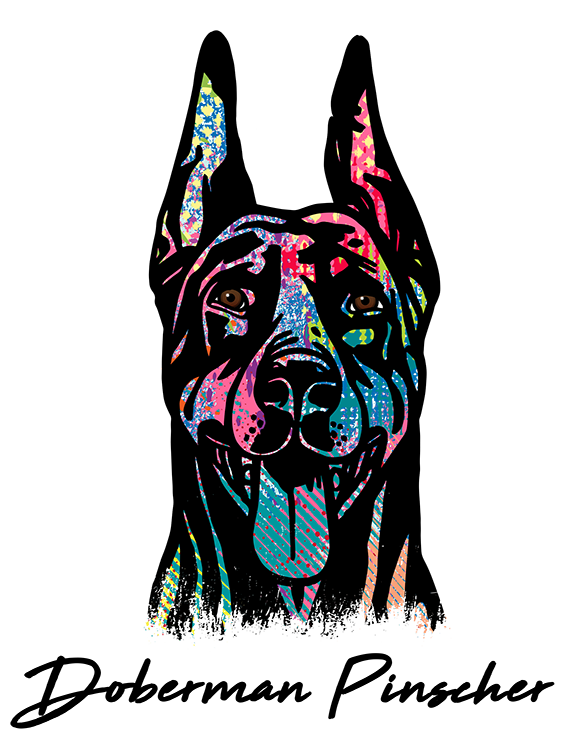 Doberman vector logo. Pinscher gifts keepsakes animalden