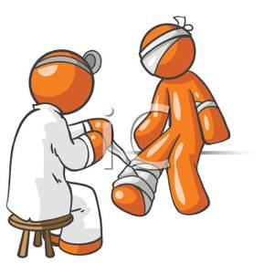 Doctor clipart bandage. A bandaging an injured