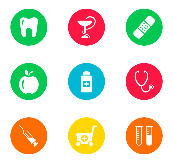Vector office medical. Doctor icons free circles
