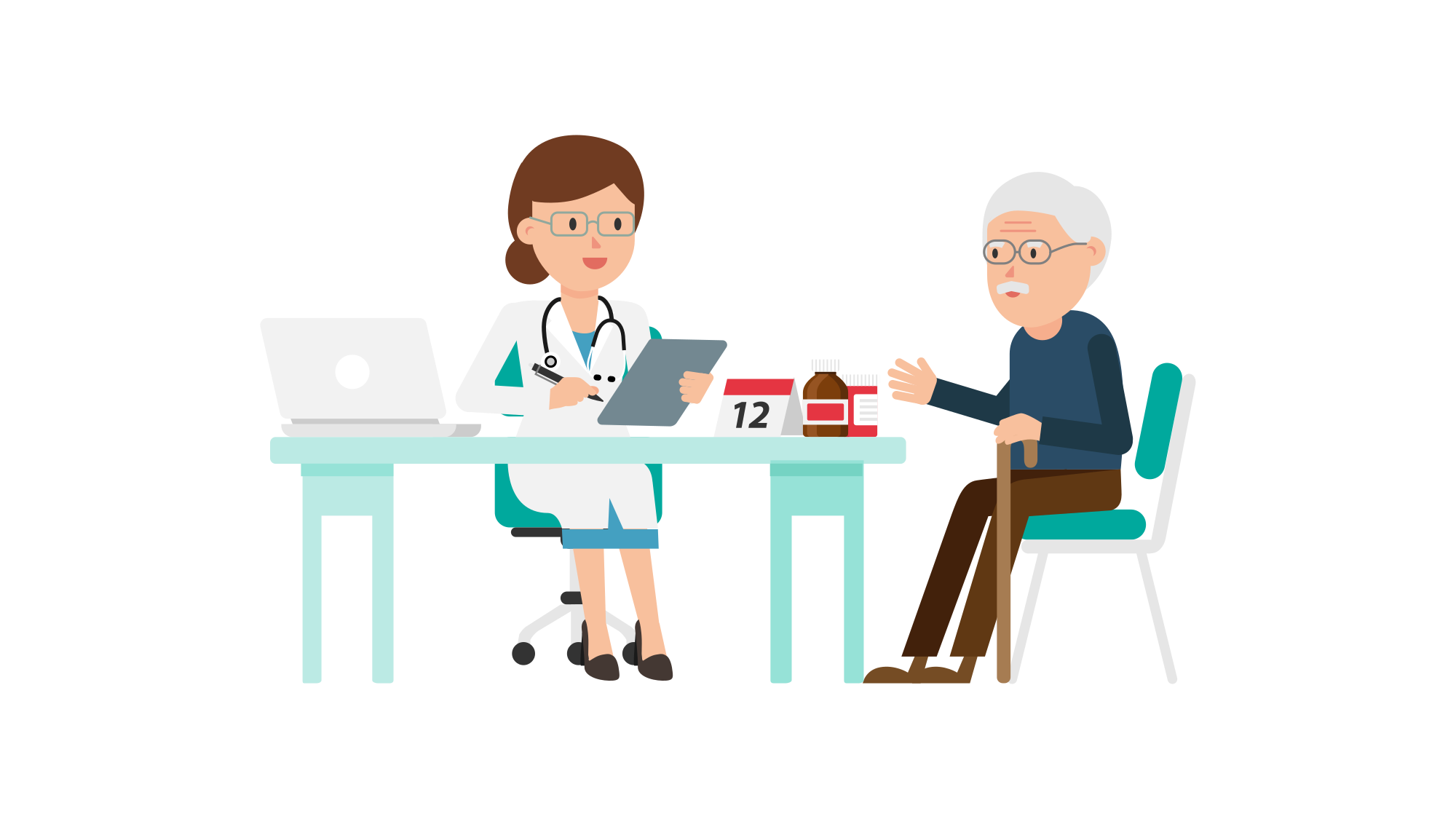 Doctor sitting png. File with patient cartoon