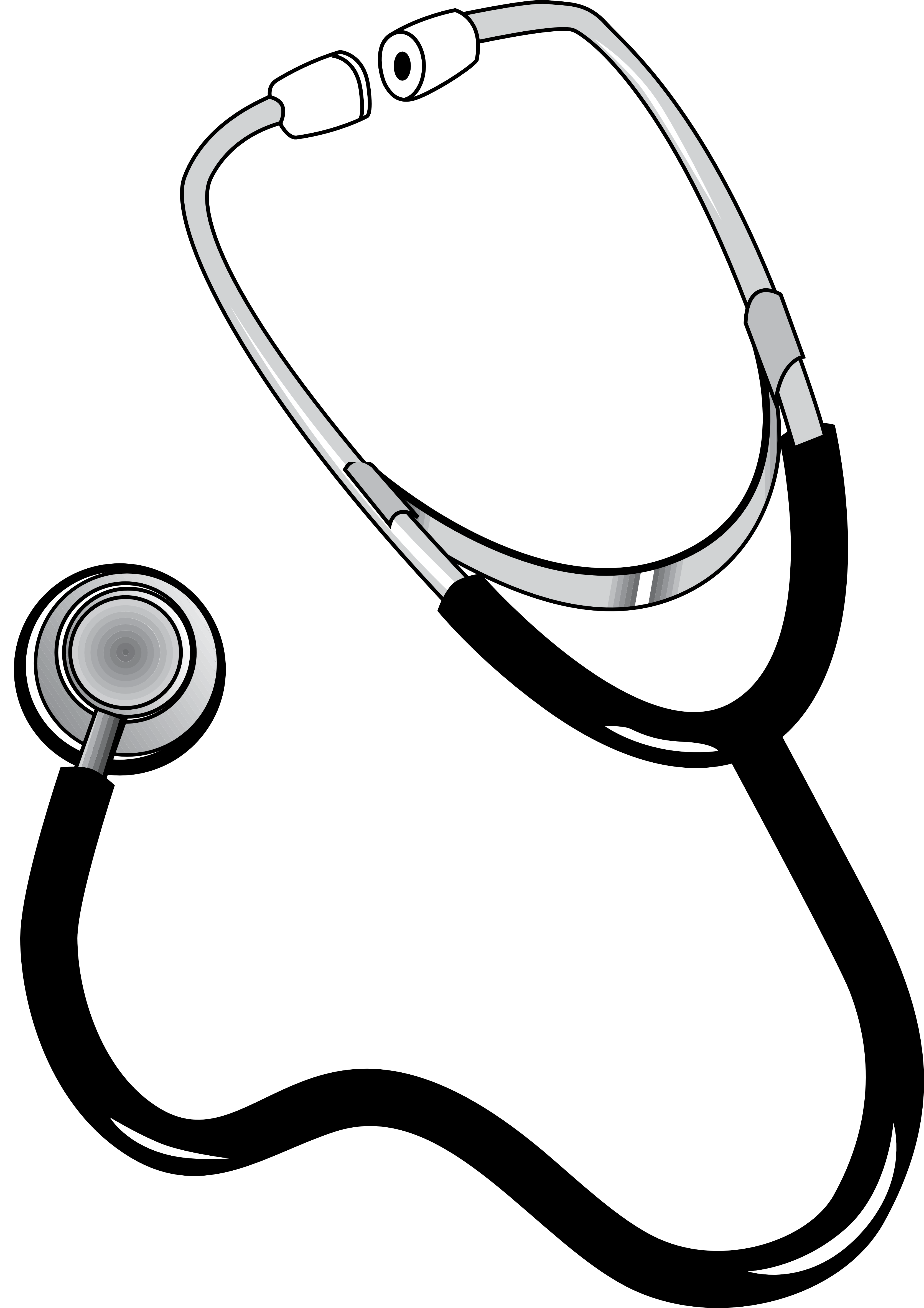 Watch clip stethoscope. Doctor black and