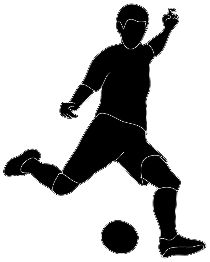 Soccer ball clipart kicking. Kickball team silhouette clipground