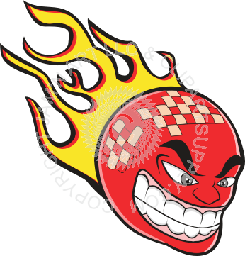 Dodgeball vector flame. Flaming grinning
