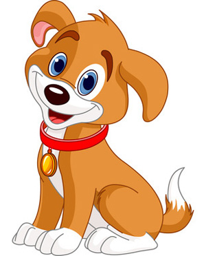 Dog clip art. Brown and white smiling