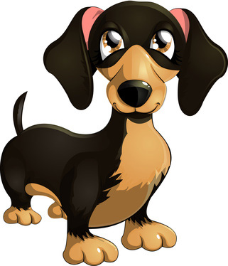 Clip Art of Cartoon Dachshund Dog - Clip Art of Dogs