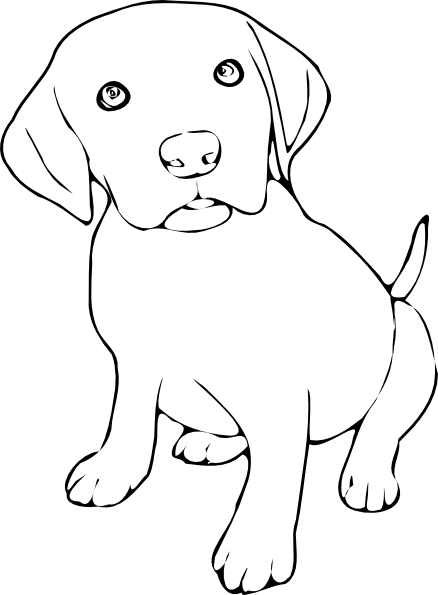 Puppy svg line art. Free black and white
