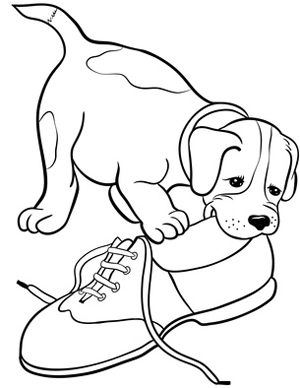 Dog clip art black and white. Puppy chewing on shoe