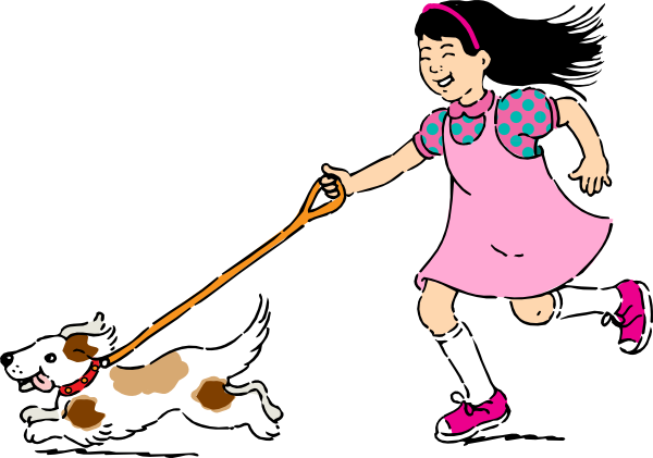 Dog clip art female dog. And a girl at