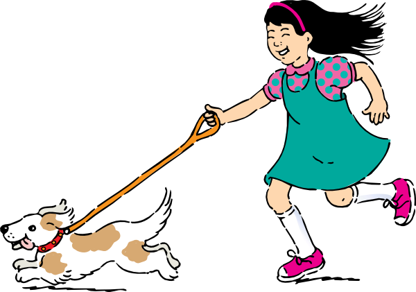 Dog clip art female dog. Girl walking at clker