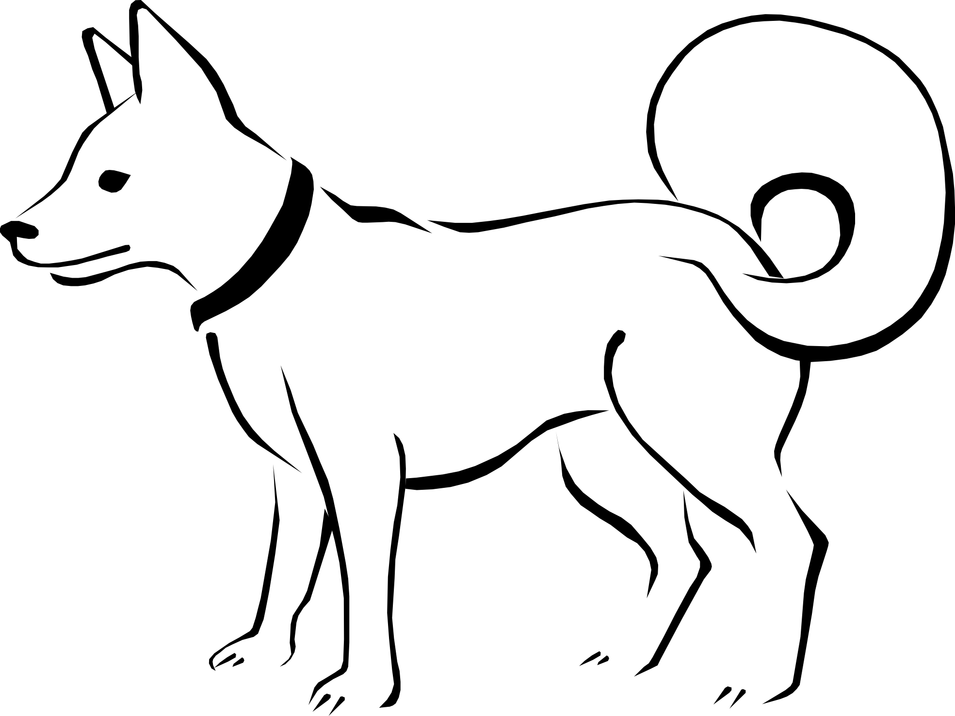 Dog clip art line drawing. Free download on clipart