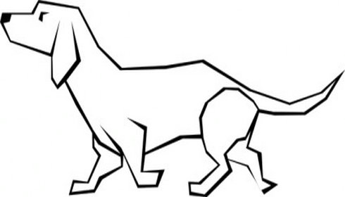 Dog clip art line drawing. Simple of a