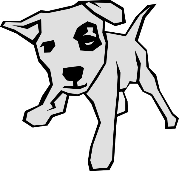 Dog clip art line drawing. Drawn with straight lines