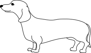 Dog clip art line drawing. Free weiner clipart image