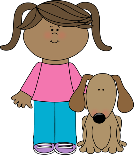Dog clip art pet. Girl with image