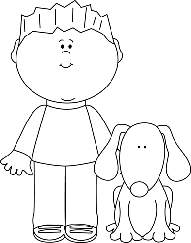 Dog clip art pet. Black and white boy