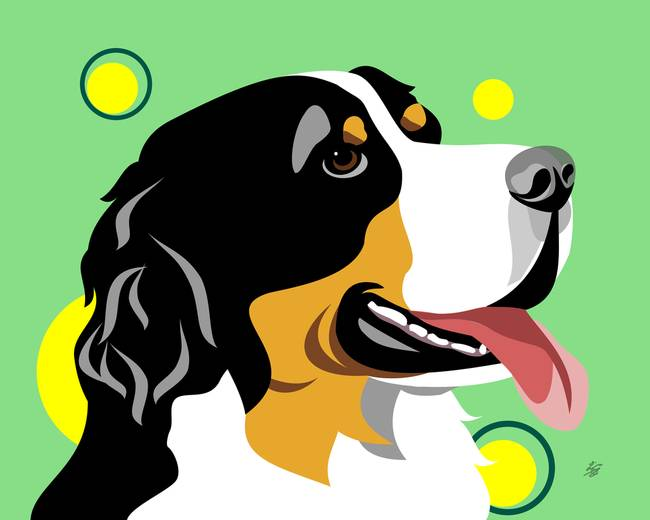 Dog clip art pop art. Stunning bernese mountain digital