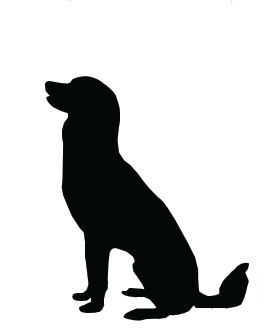 Dog clip art silhouette. Large sitting pictures with
