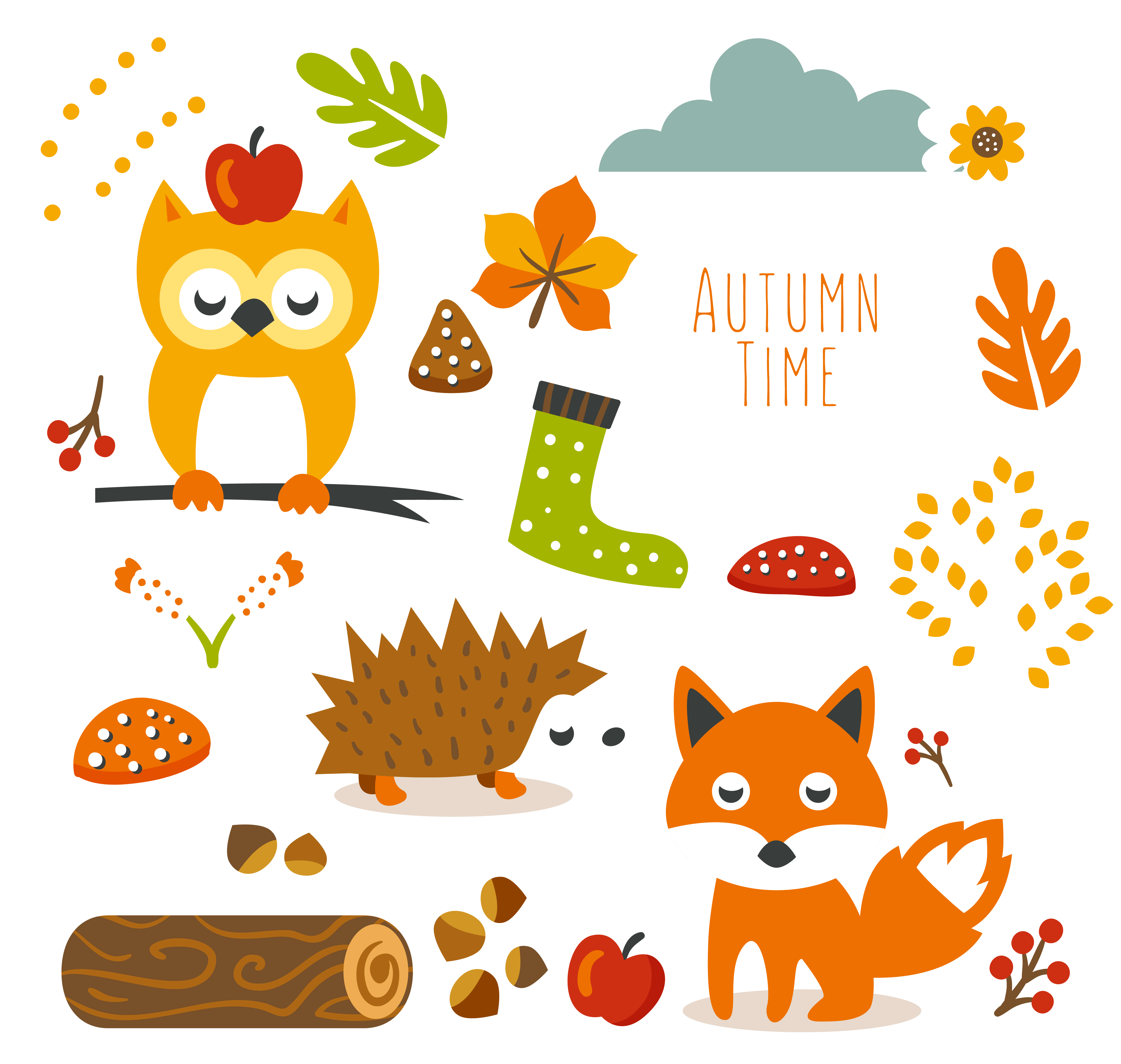 Planner clipart monthly planner. Autumn animal cliparts free