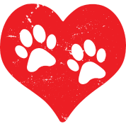 Dog paw heart png. Paws cat love red
