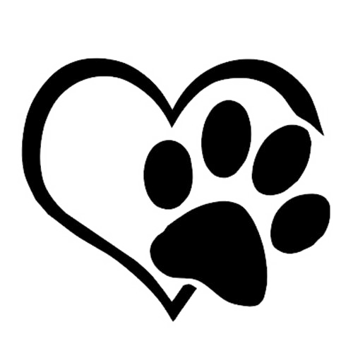 Cat decal sticker love. Dog paw heart png clipart black and white stock