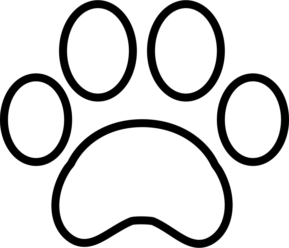 Transparent paw line. White print svg png
