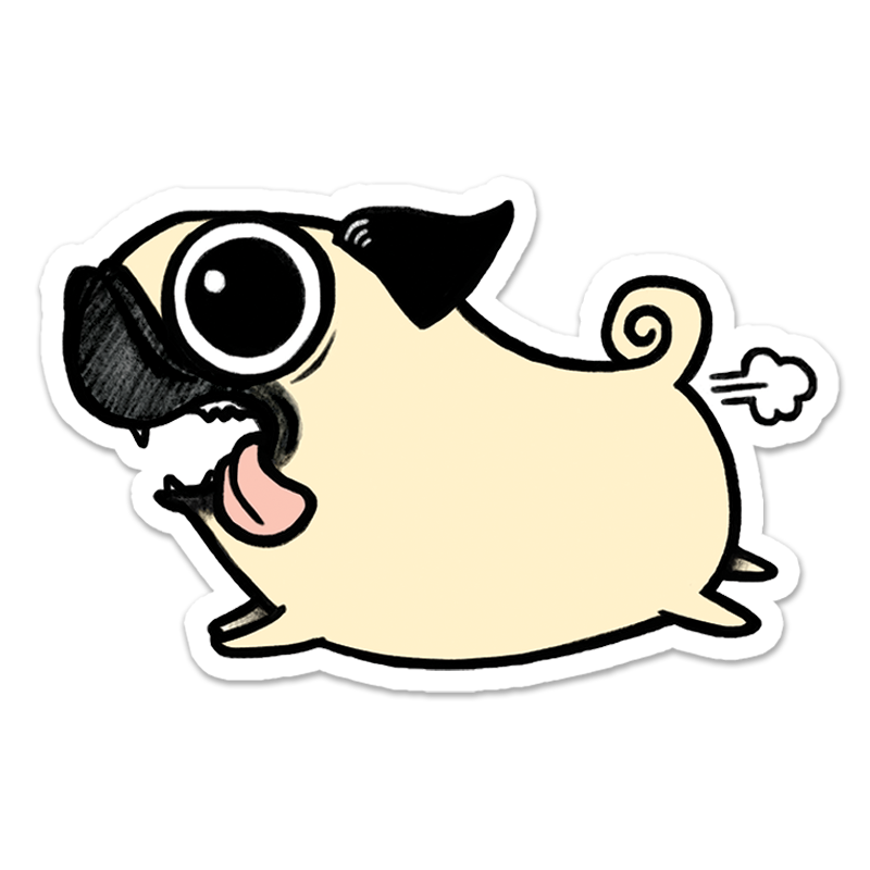 Dog sticker png. Crazy pug give a