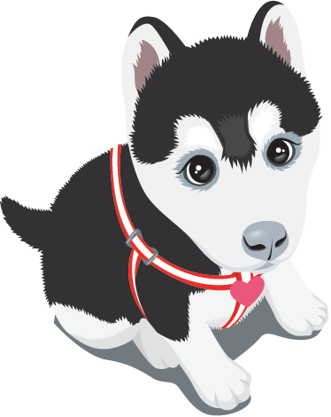 Dog sticker png. Husky puppy wall tenstickers